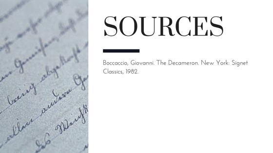 Summary of Giovanni Boccaccio's The Decameron Day 3 Story 1 Sources
