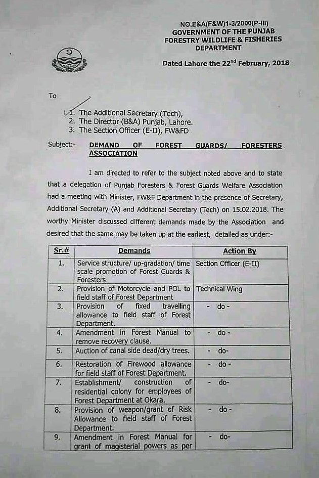 DEMAND OF FOREST GUARDS / FORESTERS ASSOCIATION