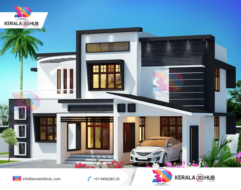 kerala house 3d elevation design joy studio design
