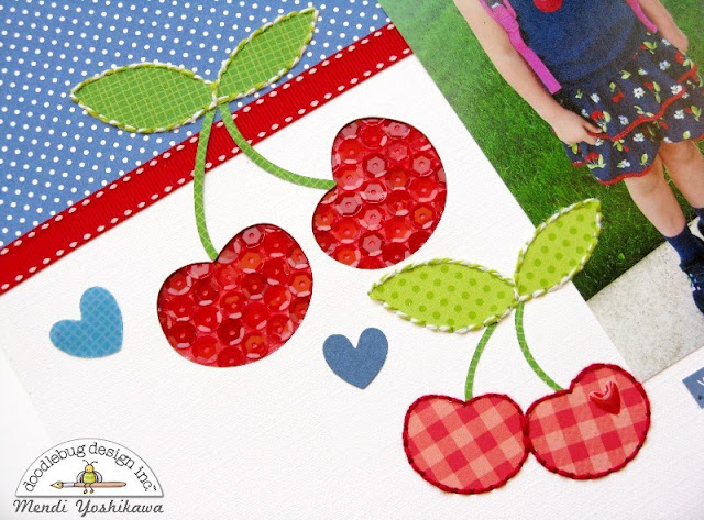 Doodlebug Design Cherry Themed Layout by Mendi Yoshikawa using Stitching with Baker's Twine