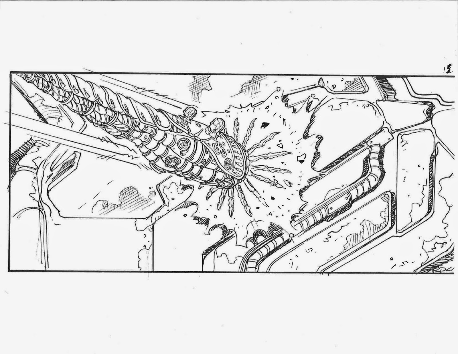 Ricardo Delgado's blog: Matrix storyboards- Bomb hits the ship
