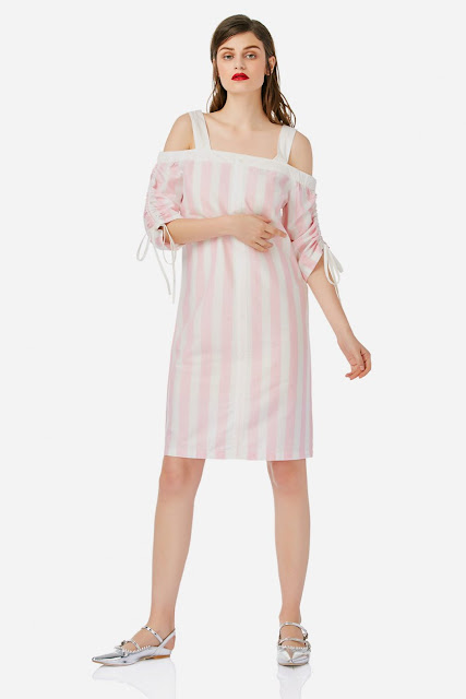 Zanstyle at stylebest cold shoulder pink dress