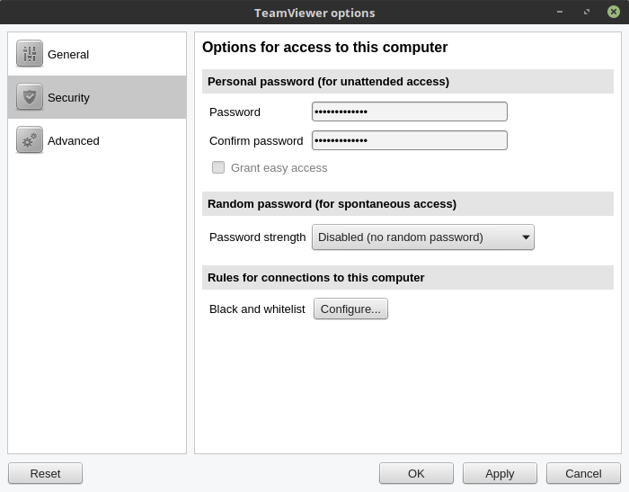 Setting Unattented Access pada TeamViewer