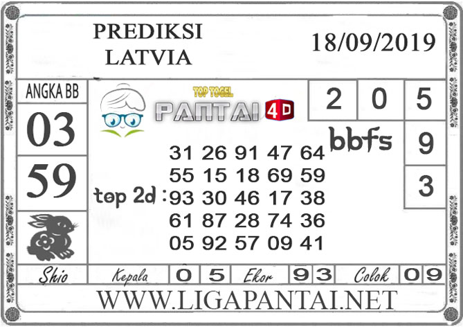 "PREDIKSI TOGEL ""LATVIA"" PANTAI4D 18 SEPTEMBER 2019"