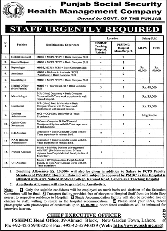 Jobs In Punjab Social Security Health Management Company Lahore Oct 2017