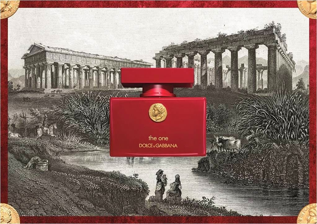 Dolce & Gabbana, The One, The One for Men, Collector's Edition, Fragrance Review, Red, Deep Brown, Greek gods, solid lacquered flacons, embossed gold coin