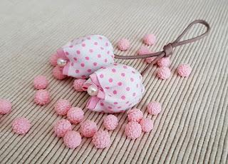 bomboniera portachiavi tulipani cotone pois rosa