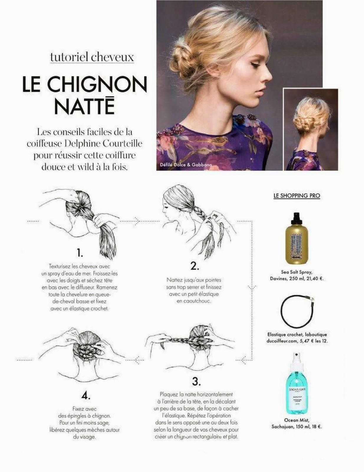 ELLE n°3593 7 novembre 2014 le chignon natté par Delphine Courteille