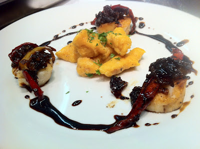 Seared Sea Scallops, Sweet Potato Gnocchi, Maple Bacon Relish, Balsamic Reduction