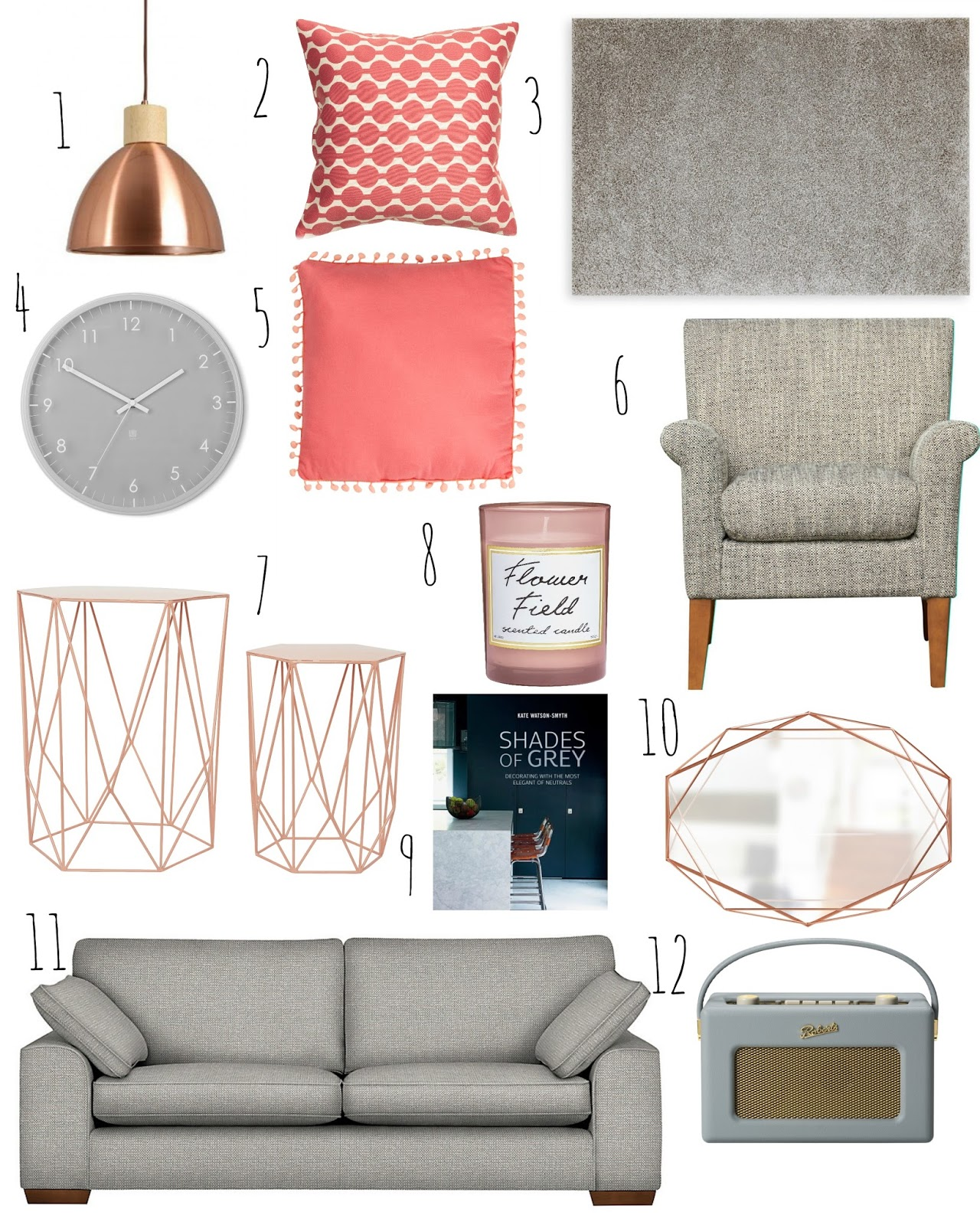 V i buys how to refresh your grey living room with for Living room ideas rose gold