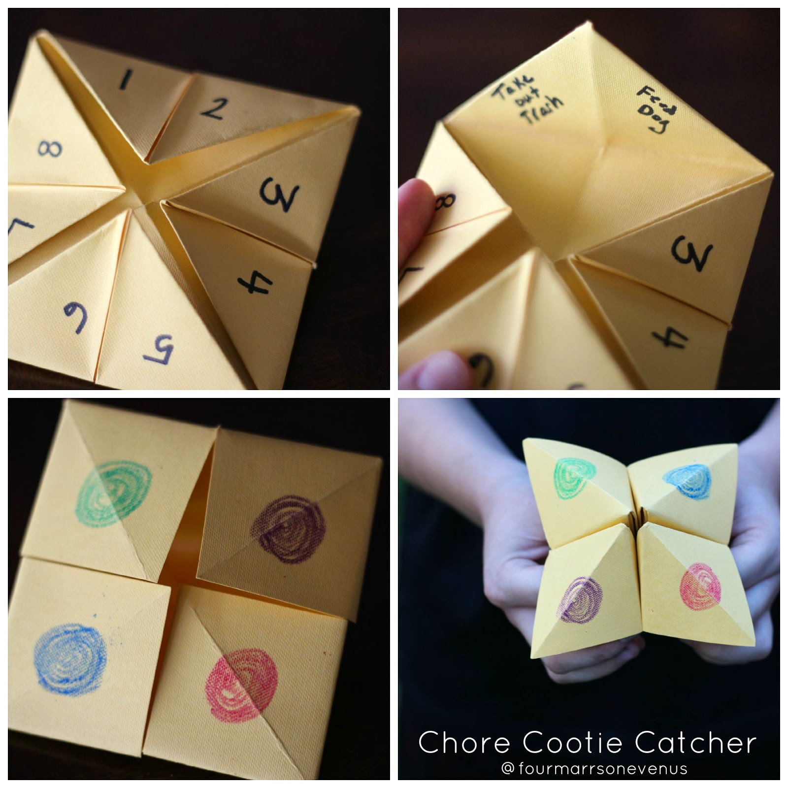 How to make a chore cootie catcher