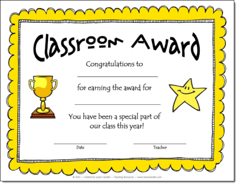 Corkboard connections classroom awards make kids feel for Pre k award certificate templates
