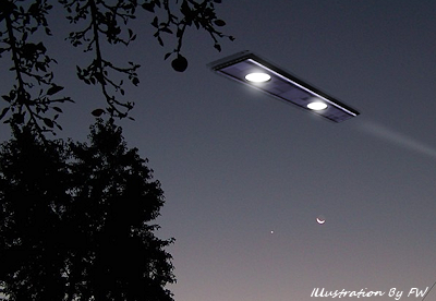 Rectangular UFO Moves Over Home