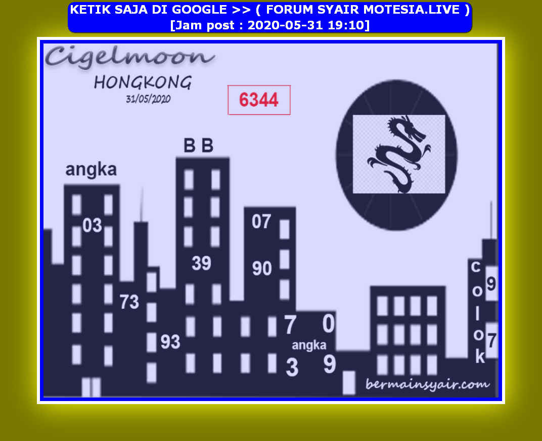 Kode syair Hongkong Minggu 31 Mei 2020 111