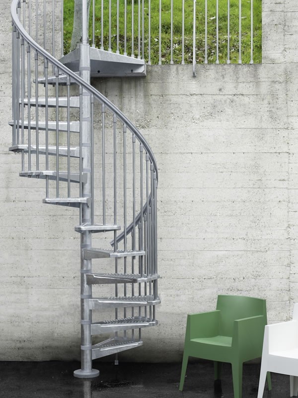 industrial outdoor spiral staircase