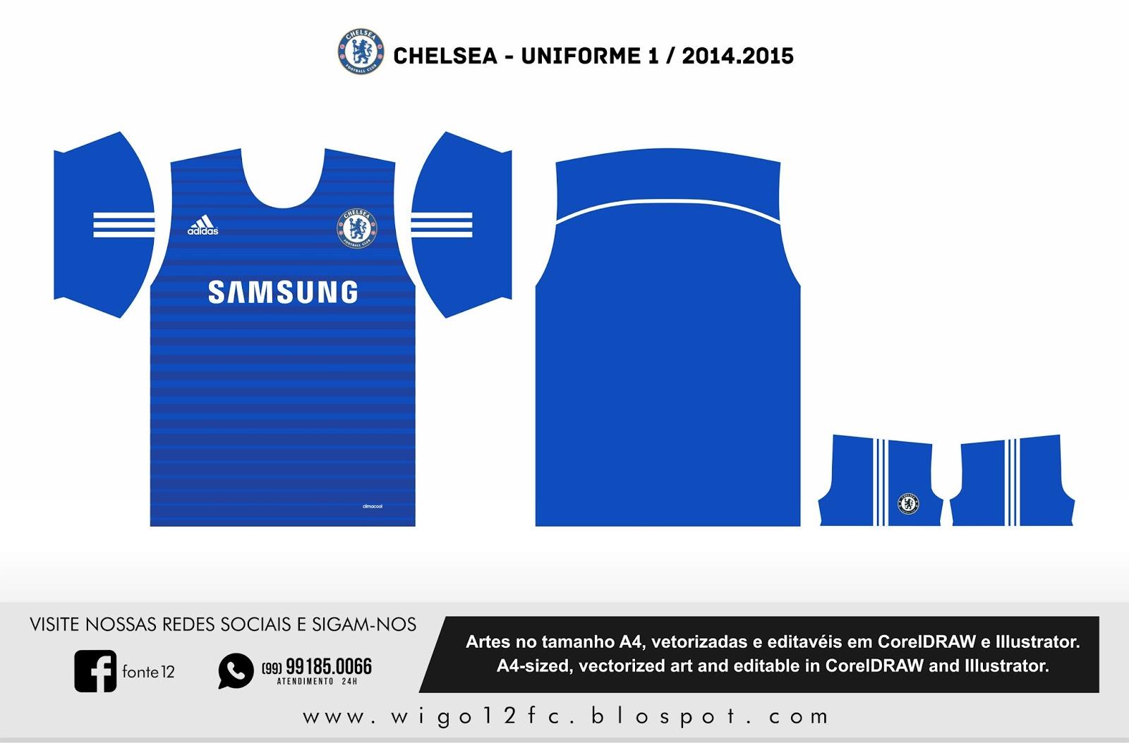 Fontes Camisas de Futebol  Uniforme Chelsea 2014-2015 b333090022964