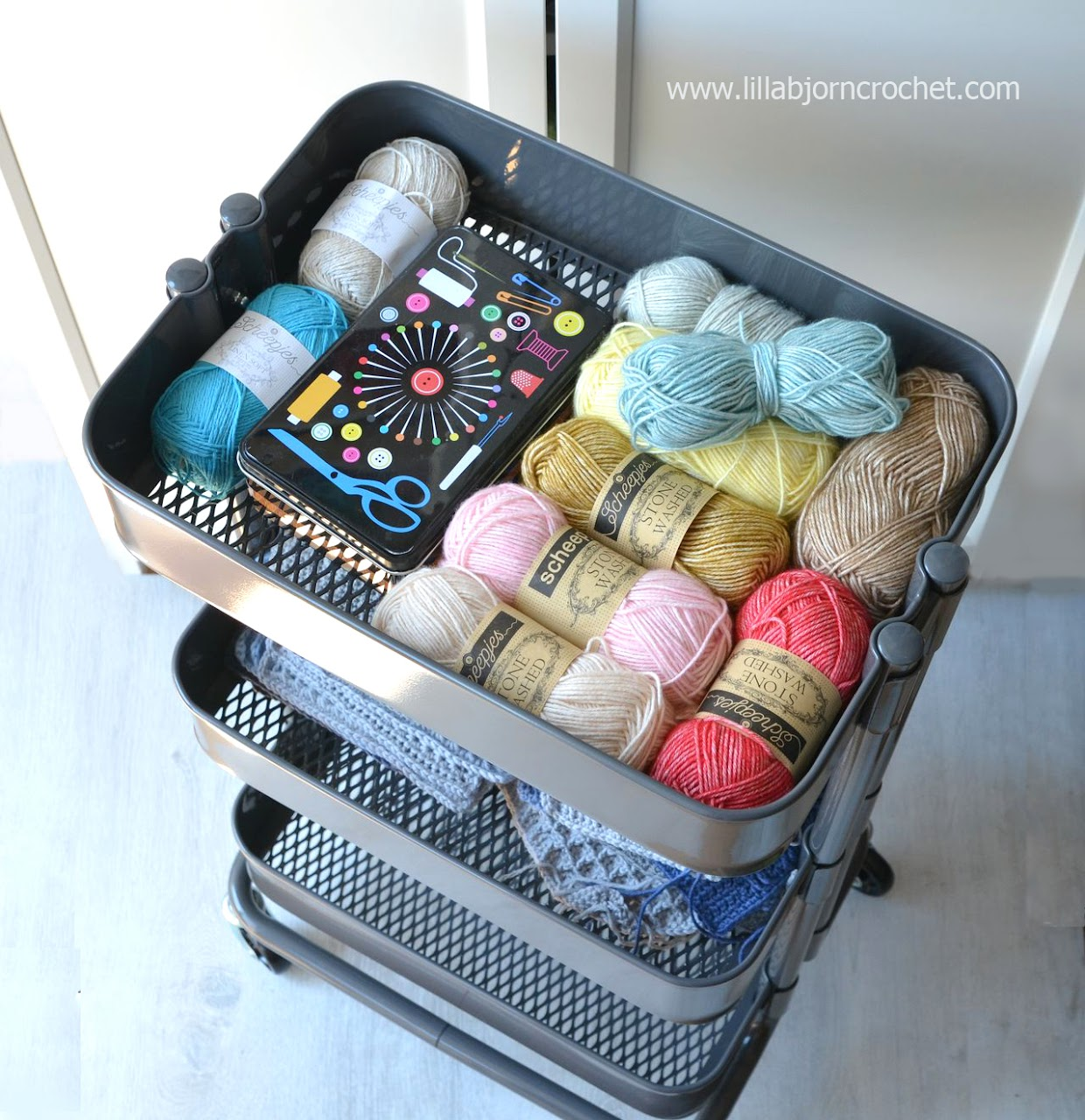 Trolley from IKEA is perfect to store current crochet and knitting wip's and yarns