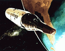 A 1967 conceptual drawing of the Gemini B reentry capsule separating from the MOL at the end of a mission.