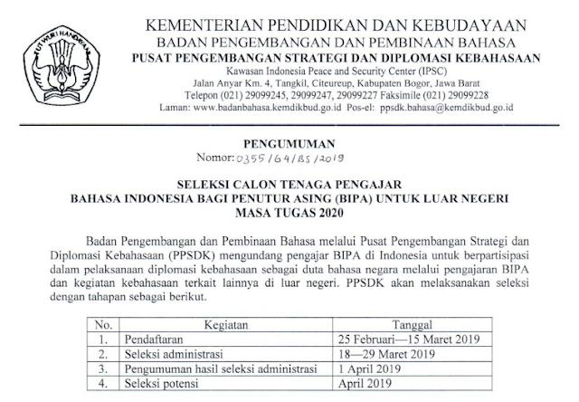 Seleksi Calon Tenaga Pengajar Bahasa Indonesia Bagi Penutur Asing  SELEKSI CALON TENAGA PENGAJAR BAHASA INDONESIA BAGI PENUTUR ASING (BIPA) UNTUK LUAR NEGERI MASA TUGAS 2020