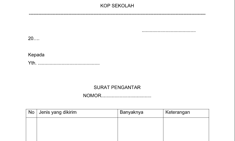 Surat Pengantar Contoh Format Bentuk Format Administrasi TU Sekolah (Tata Usaha)