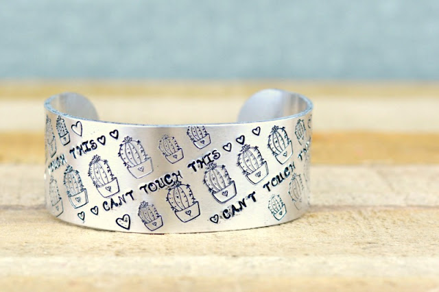 Hand Stamped Jewelry - Cactus Cuff by Adrianne Surian of Happy Hour Projects