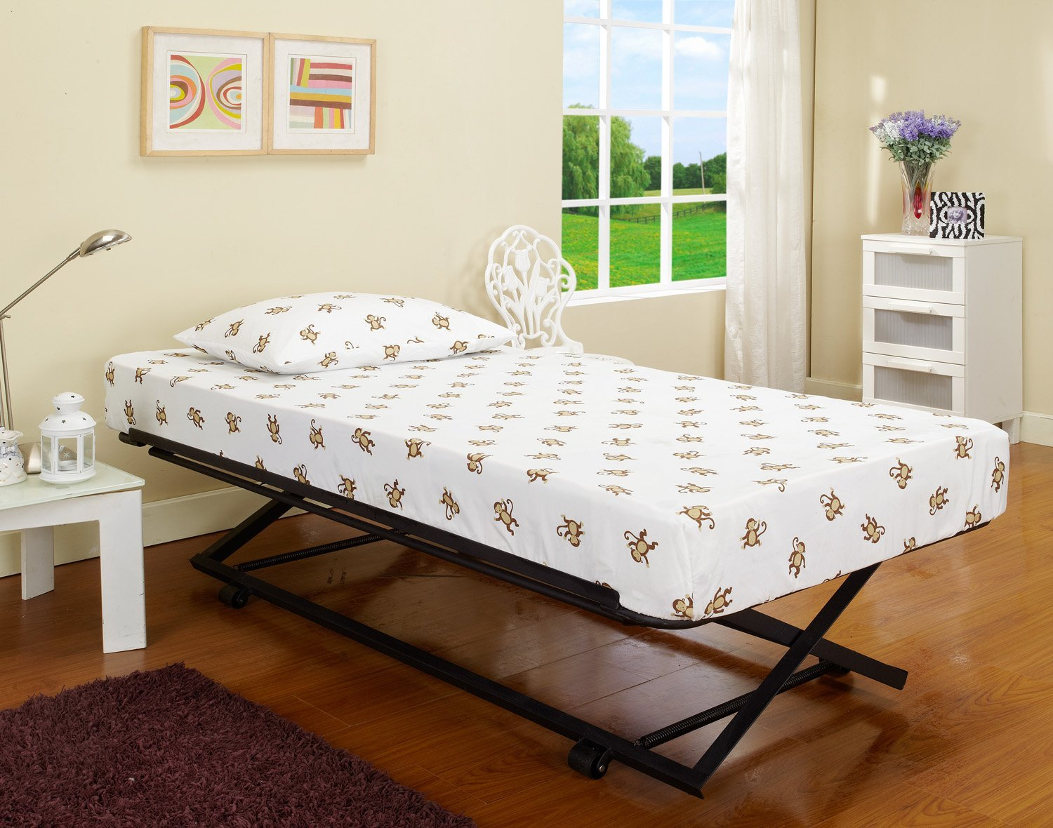 Twin Bed With Pull Out Slide Out Trundle Bed Underneath
