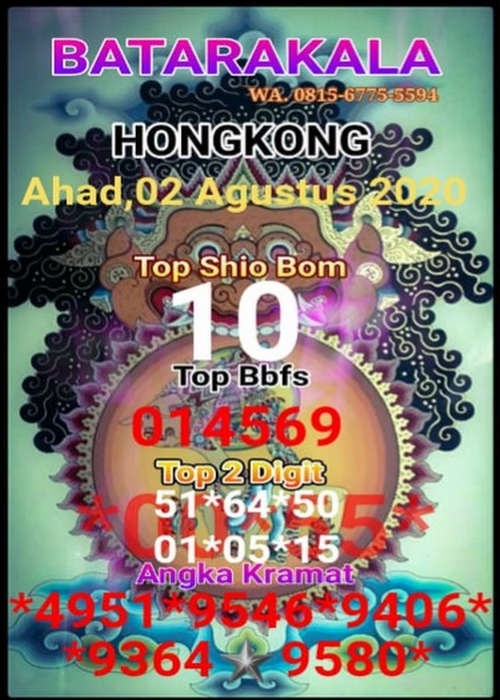 Kode syair Hongkong Minggu 2 Agustus 2020 27