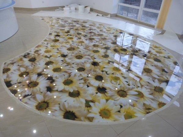living room 3D floor floral design