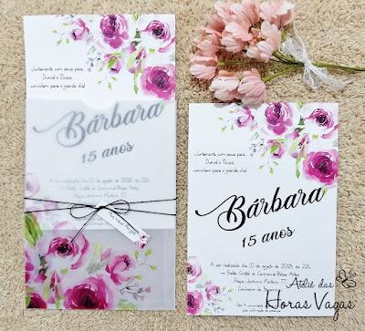 convite de aniversário de 15 anos debutante floral aquarelado delicado rosa rosê pink magenta convite de casamento flores do campo casamento ao ar livre delicado sofisticado mini wedding invitation