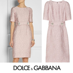 Princess Victoria Style Dolce & Gabbana Pink Belted Jacquard Dress