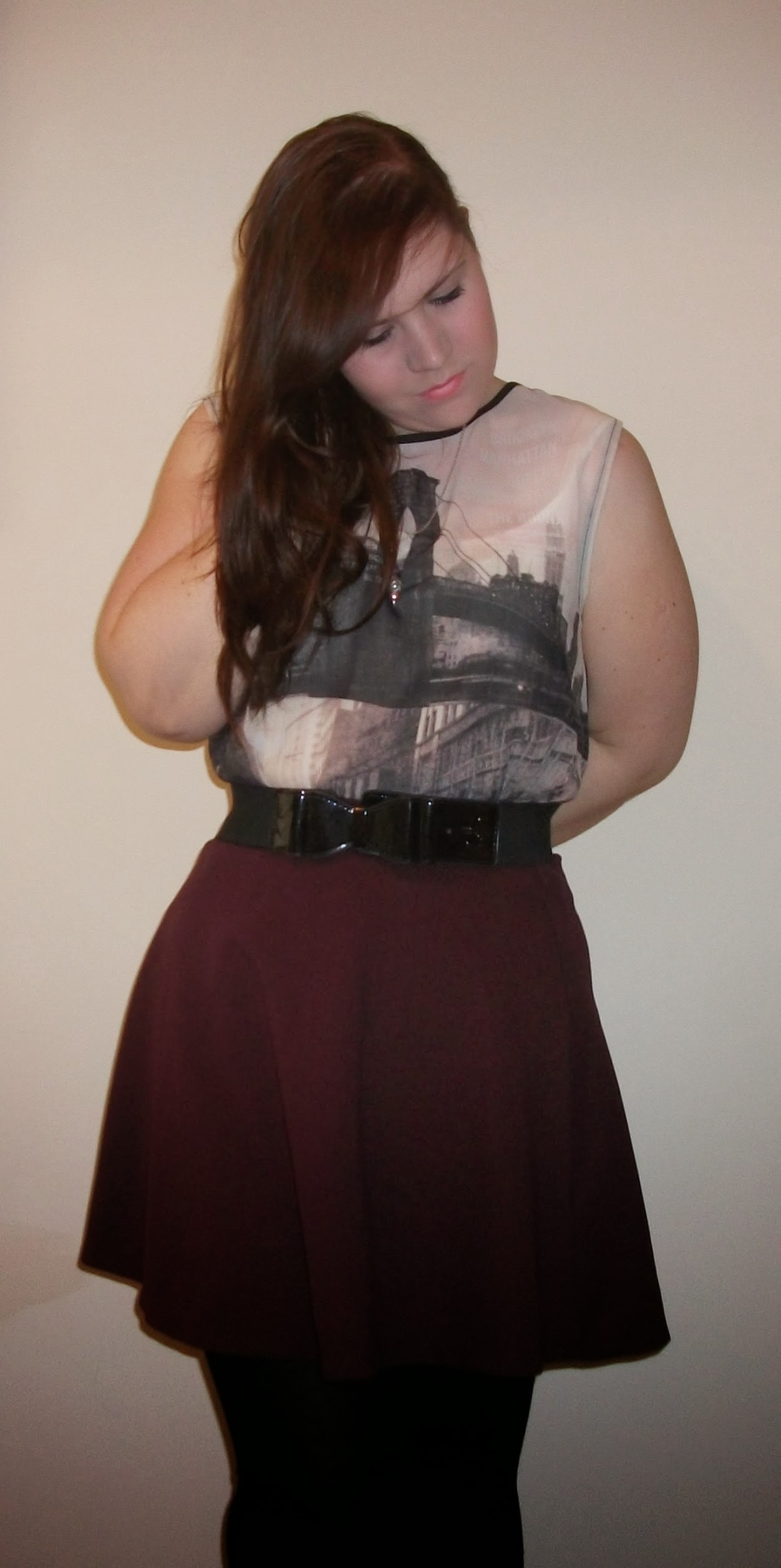 going out outfit purple skirt new york see-through top bow belt