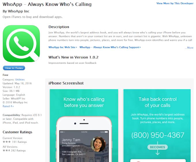 Do not install WhoApp