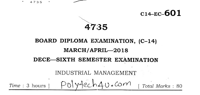SBTET C-14 INDUSTRIAL MANAGEMENT OLD QUESTION PAPER 2018