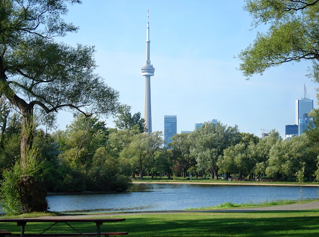 View from Toronto Central Island and the CN Tower