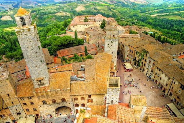 Vista aérea de San Gimignano na Itália
