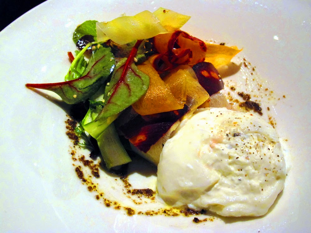 Burrata and fresh vegetable salad at Le Dome du Marais restaurant in Paris
