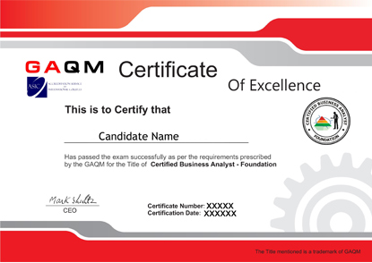 GAQM CBAF-001: Certified Business Analyst Foundation Test