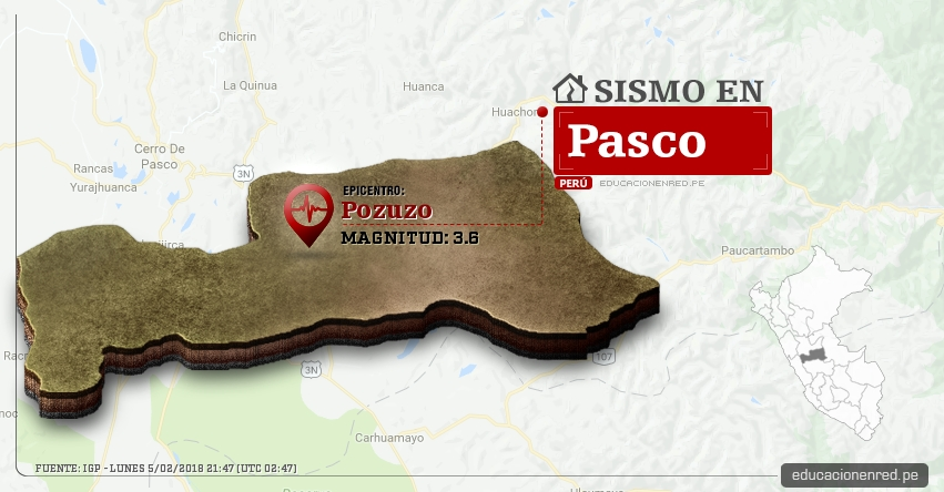 Temblor en Pasco de magnitud 3.6 (Hoy Lunes 5 Febrero 2018) Sismo EPICENTRO Pozuzo - Oxapampa - IGP - www.igp.gob.pe
