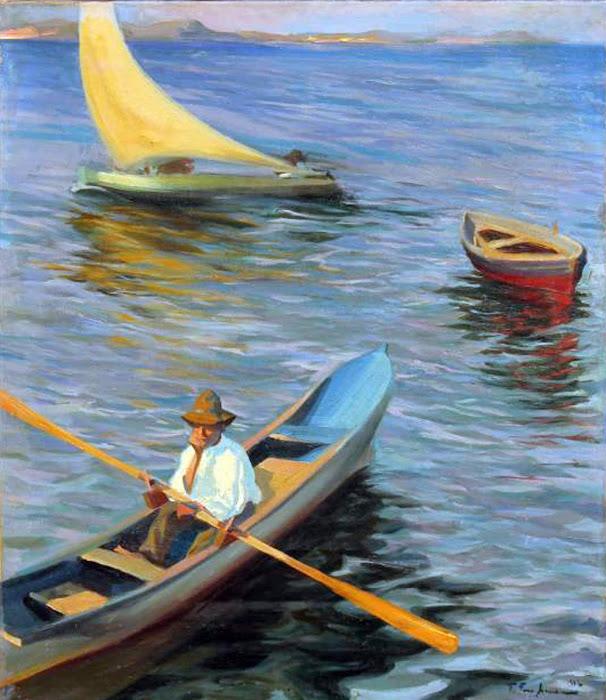 Paseo en barco, Francisco Pons Arnau, Pintor español, Pintor Valenciano, Pintura Valenciana, Impresionismo Valenciano, Pintor Pons Arnau, Retratos de Pons Arnau