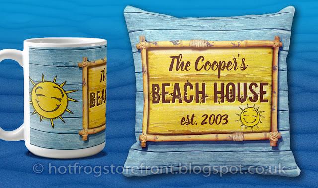 Photograph of mug and cushion in Driftwood Beach design