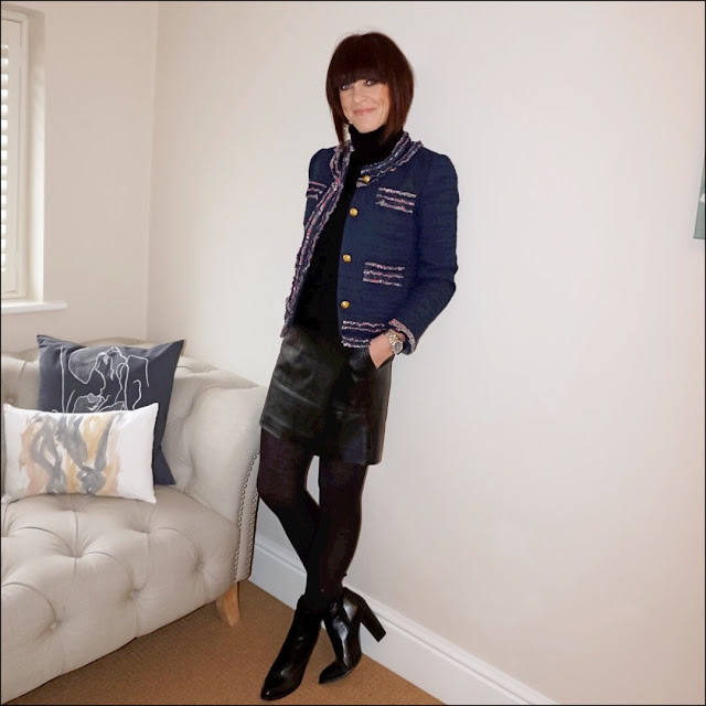 My Midlife fashion, marks and spencer pure cashmere polo neck jumper, marks and spencer faux leather a line skirt, j crew lady jacket with liberty trim, zara block heel ankle  boots