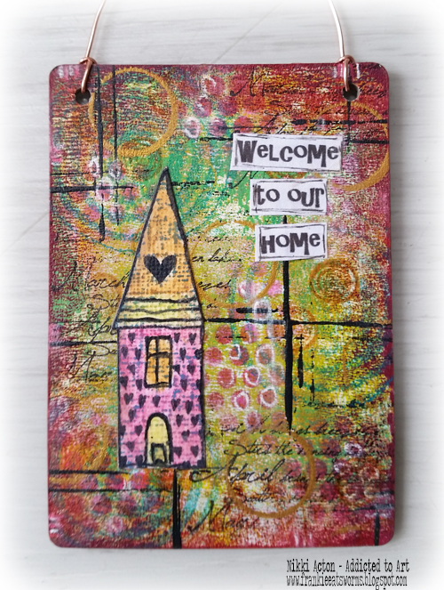 Mini Art Kate Crane Style - featuring Deco Art Media Fluid Acrylics, Thats Crafty surfaces and Rubber Dance stamps - by Nikki Acton
