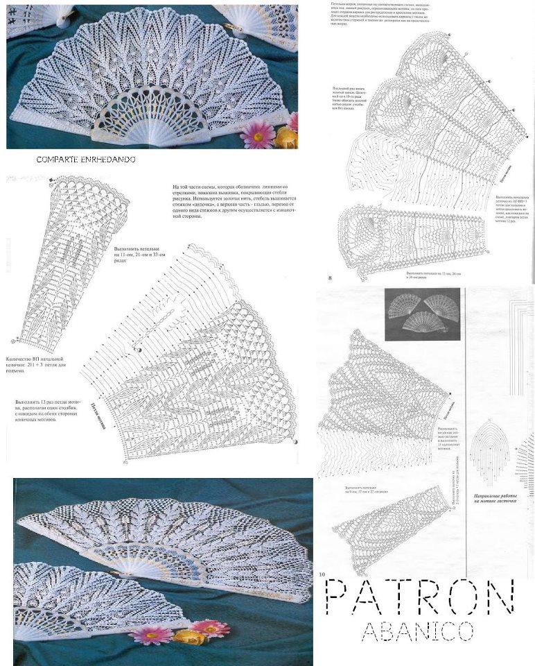 abanicos crochet, patrones de abanicos ganchillo