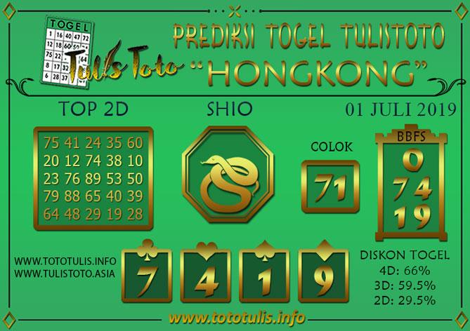 Prediksi Togel HONGKONG TULISTOTO 01 JULI 2019