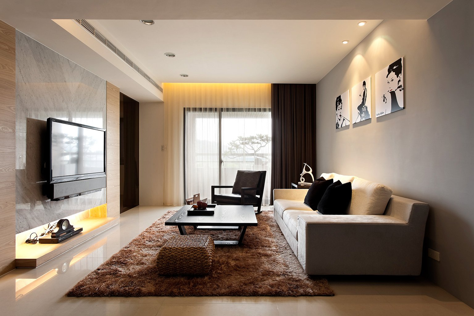 simple and modern living room design ideas with theater