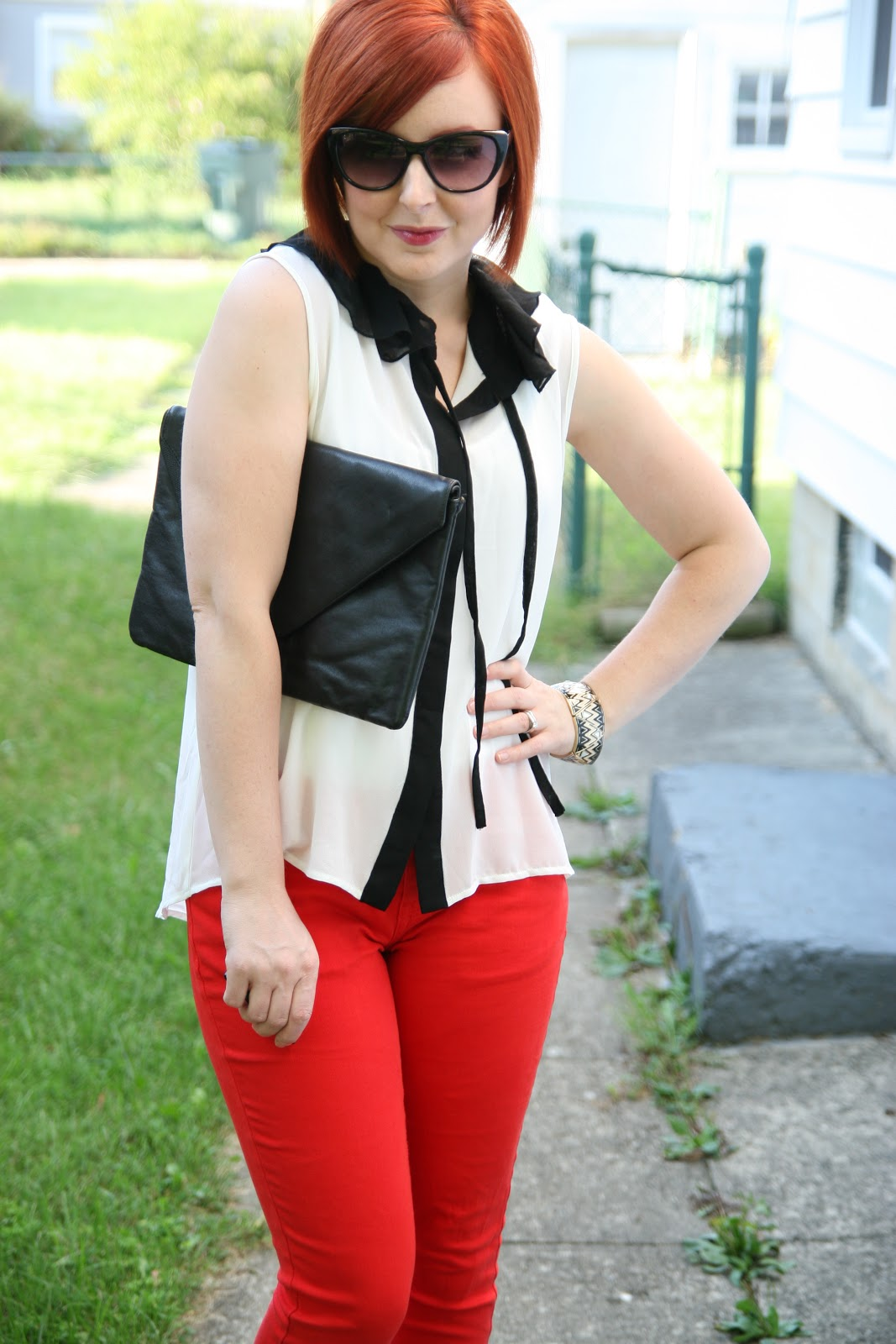 thrift and shout cute outfit of the day red jeans remake