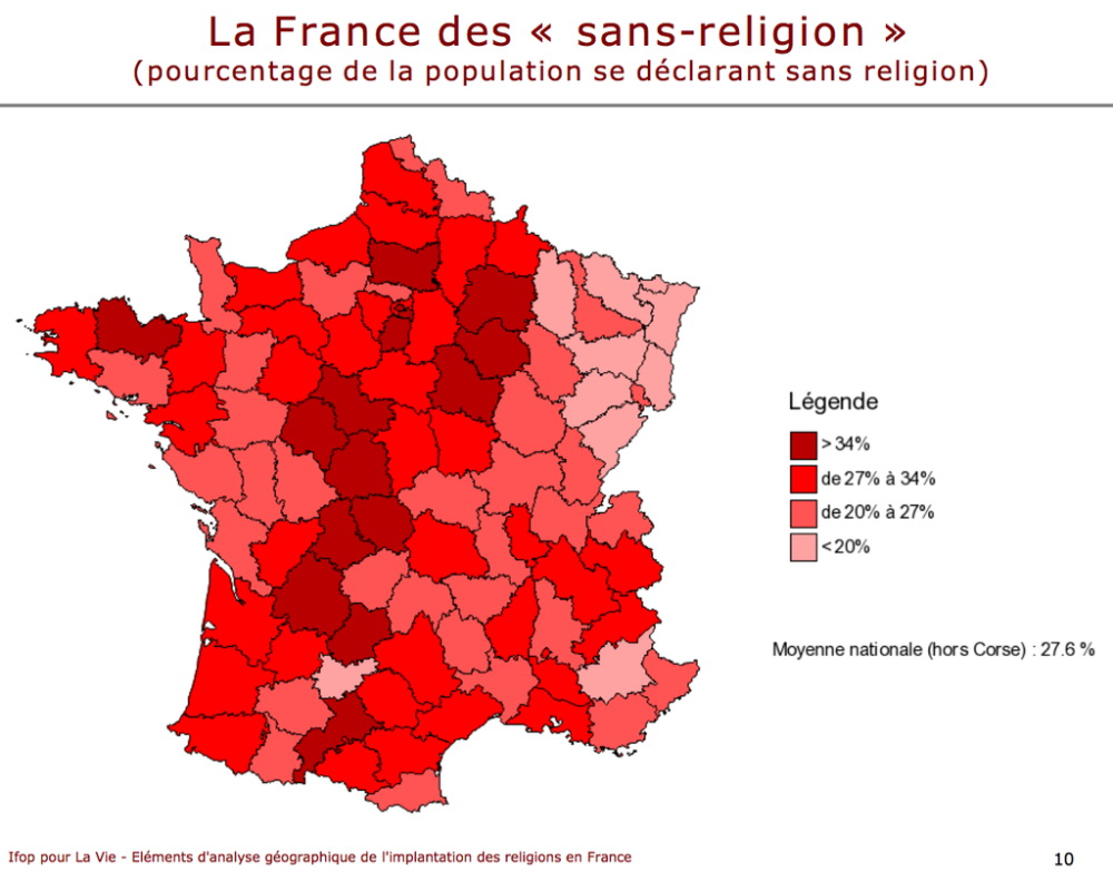 Share of Atheists in France