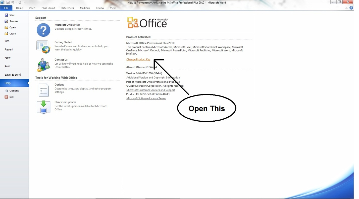 How to Permanently Activate the MS Office Professional