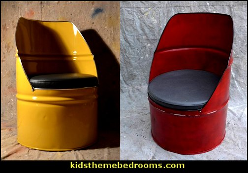 Industrial Furniture Barrel Chairs   Urban bedroom ideas - urban bedroom decor - urban bedrooms - Urban bedding - city theme bedrooms - New York City bedding - city decor - industrial furniture - city streets bedding - New York cabs - city living urban chic decorating ideas - Urban skater theme - Urban style decorating skateboarding theme - graffiti themed skater park - punk grunge bedrooms - graffiti bedroom decorating