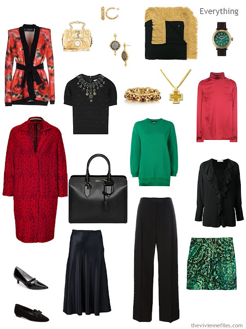 travel wardrobe in black, red and green